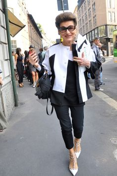 Costanza Pascolato proving that you can be over 70, cover everything up, and still look amazing.  via Streetstyle by Stela