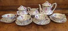13-PIECE-ANTIQUE-NIPPON-HANDPAINTED-PORCELAIN-TEA-SET-WITH-FOUR-CUPS-AND-SAUCERS