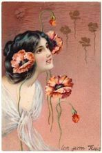 English Art Nouveau postcard of woman with red poppies...