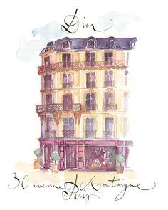 Dior avenue Montaigne watercolor art print Paris by ParisDarling, $25.00