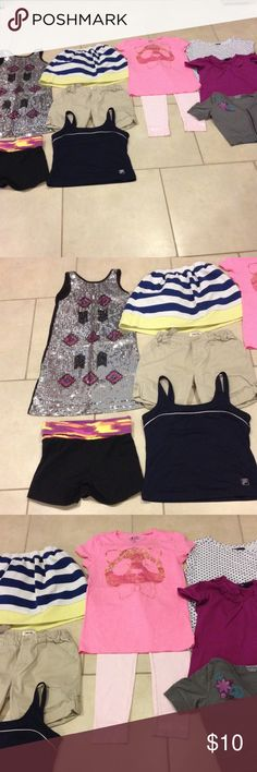 Bundle size 10-12 good condition Bundle of 10-12 Zoe dress and Gymboree skirt (2) shorts Xersion an Cherokee Justice pants an (5) tops Fila,Old navy,Route 66 hooded an Gapkids good condition Other