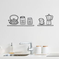 Breakfast time black vinyl Wall Decal / Wall by MadeofSundays, €28.00