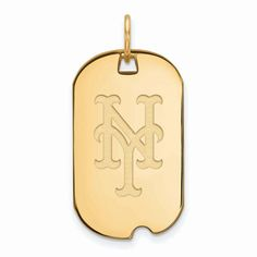 New York Mets Women's Gold-Plated Small Dog Tag Necklace