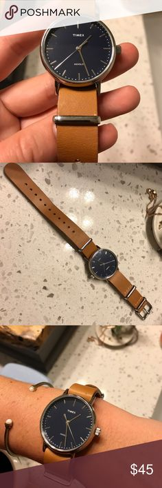 Women's Timex Leather Watch Brand new! Silver with a navy face for a timeless look. Perfect for your everyday watch 👌🏽 Timex Jewelry Bracelets