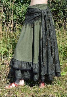 """Купить Бохо юбка """"Зелень розы """" - тёмно-зелёный, юбка, юбка в пол"""