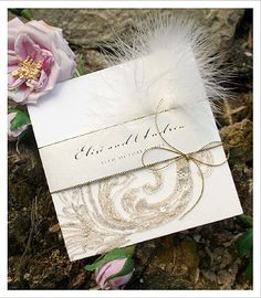 Glamourous | Lace | Feathers - Lace Wedding Invitations - Huetopia Design