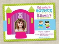 Bounce House Birthday Party Invitation - Inflatables Party Girl - Jumping Party Invite - Photo card (Printable Digital File) on Etsy, $16.00