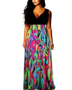 Vintage Women Summer Boho Floral Long Casual Party Plus Size Maxi Dress:Summer Fashion: Spring Outfits:Casual Outfits:Cute Outfits: Summer Outfits: Spring Outfits:Spring Outfits:Summer Dress