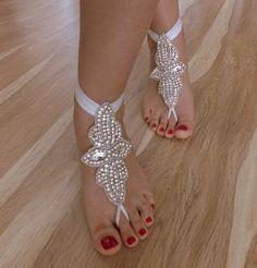Rhinestone anklet  Beach wedding barefoot sandals by WEDDINGGloves, $45.00