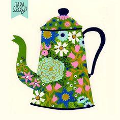 Art and Illustration by Tara Lilly Studio: Painted Teapot 2 Art And Illustration, Illustrations, Tee Kunst, Bonnet Crochet, Square Art, Pintura Country, Tea Art, Art Plastique, Art Lessons