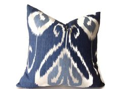 Blue Pillows, Blue ikat Pillows, Blue Throw Pillows,  Decorative  Pillow Cover, Blue Pillow,  Kravet Pillow  invisible Zipper Closure by DEKOWE on Etsy https://www.etsy.com/listing/225567074/blue-pillows-blue-ikat-pillows-blue