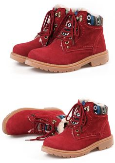 Winter Outdoor Comfortable Leather Lace-up Flat Ankle Martin Boot #boot #winterboot
