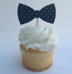 Polka Dot Bowtie Cupcake Toppers - Blue and Gold - Set of 12 - Baby Shower…