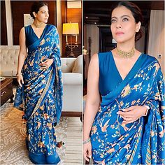 Blue chinon silk printed moti border saree - Saree : Chinon Silk With Print Moti Border And Satin Patti Lace Blouse : Banglory Satin Saree Blouse Neck Designs, Fancy Blouse Designs, Blouse Patterns, Bollywood Saree, Kajol Saree, Bollywood Fashion, Bollywood Actress, Blue Saree, Outfit