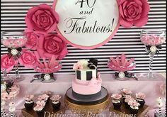 40 and Fabulous Birthday Party. 40th Birthday Party For Women, 40th Birthday Themes, 40th Bday Ideas, Birthday Party Decorations For Adults, Adult Party Themes, Fabulous Birthday, Birthday Woman, Cake Birthday, 30th Party