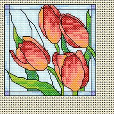 Maria Diaz Designs: free cross stitch chart. Changes monthly, so it may not be these tulips anymore!