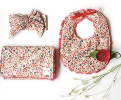 Clothesline Floral - Feeding Set Burp Cloth and Bib with red rosette minky baby girl Handmade by Dot Dot Baby / Jes Hoyda / Tulsa Oklahoma / Etsy
