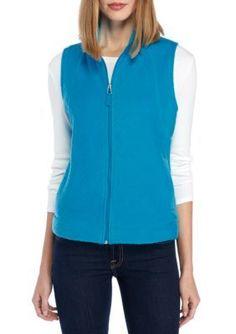 Kim Rogers Women's Zip Front Fleece Vest - Paris Turquoise - Xl