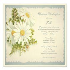 Chic Vintage Daisies 75th Birthday Custom Invitation