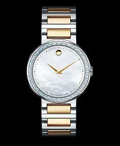 Movado Watch, Women's Swiss Concerto Diamond (1/3 ct. t.w.) Two Tone Stainless Steel Bracelet 30mm 0606470 - Women's Watches - Jewelry & Watches - Macy's