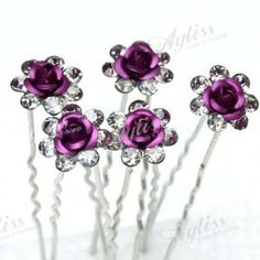 Purple Rose Flower Wedding Tiara Hairpin Hair Clips 50P | eBay