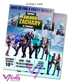 Fortnite Invitation Season Digital Files will be delivered within or less! FREE Thank you card included! Digital Invitations, Birthday Invitations, Fortnite Season 11, Minecraft Invitations, Laser Paper, Free Thank You Cards, Types Of Printer, Trees To Plant, Your Cards