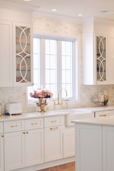 Mullion Cabinet Doors: How to Add Overlays to a Glass Kitchen Cabinet diy kitchen ideas Mullion Cabinet Doors: How to Add Overlays to a Glass Kitchen Cabinet - The Pink Dream Home Decor Kitchen, Diy Kitchen, Kitchen Interior, Home Kitchens, Kitchen Ideas, Interior Door, Country Kitchen, Remodeled Kitchens, Fancy Kitchens