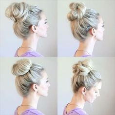 """I'm sure you can tell by now, I'm obsessed with messy buns! Here is a quick peek at 4 out of the Easy Messy Buns"""" tutorial I did on my Yo… Messy Bun Hairstyles, Braided Hairstyles Tutorials, Pretty Hairstyles, Messy Bun Tutorials, Everyday Hairstyles, Latest Hairstyles, Hairdos, Cute Messy Buns, Quick Messy Bun"""