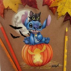 Image uploaded by julitagarji. Find images and videos about art, drawing and disney on We Heart It - the app to get lost in what you love. Lilo And Stitch Quotes, Lilo Y Stitch, Cute Stitch, Disney Halloween, Halloween Art, Happy Halloween, Cartoon Wallpaper, Cute Disney Wallpaper, Disney Kunst