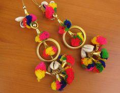 8 pcs.Tassels/ tribal tassels/ banjara tassels/ pom pom tassels/ decorative tassels/ boho tasslels/ multicolored tassels. by vibrantscarves on Etsy