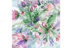 Watercolor rose flower background by Art By Silmairel on @creativemarket