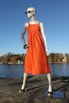 Vtg-70s-Marimekko-Orange-Sleeveless-Asbract-Print-Dress-Fabrick-Vuokko-Nurmesnie