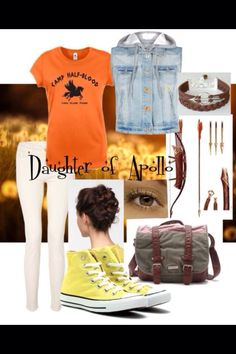 Daughter of Apollo outfit. Fandom Fashion, Geek Fashion, Artemis, Apollo Cabin, Percy Jackson Outfits, Themed Outfits, Inspired Outfits, Tio Rick, Diana