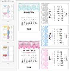 Free 2017 Calendar Cards from scrappystickyinkymess