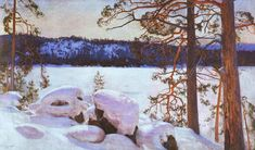 """Sun of the Late Spring"" 1893 - ""Kevättalven Aurinko"" by Eero Järnefelt Finland Helene Schjerfbeck, Scandinavian Paintings, Scandinavian Art, Winter Trees, Winter Art, Germanic Tribes, Winter Painting, Paintings I Love, Artists"