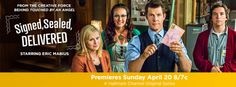 #SignedSealedDelivered starring @Eric_Mabius as the leader of a group of postal detectives #POstables who navigate an unpredictable world where redirected letters and packages can save lives, solve crimes, reunite old loves and change futures by arriving late but somehow always on time.