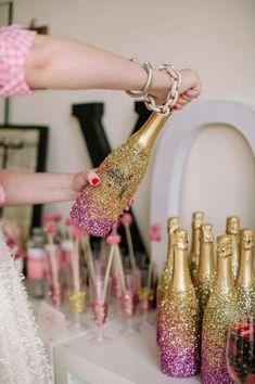 diy new years eve decorations glitter bottles bling bottles liquor bottles