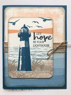 Stamp Set:  High Tide, You've Got This  Ink:  Dapper Denim, Peekaboo Peach, Crumb Cake, Memento Black  Paper:  Dapper Denim, Very Vanilla, By the Shore DSP  Accessories:  Dimensionals, Linen Thread, 5/8″ Burlap Ribbon, Corner Rounder
