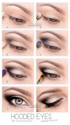 So pretty-------Hooded Eyes Makeup. This works so well for hooded eyes, you wouldn't believe it until u try. It's not that drastic, mostly black eyeshadow, eyeliner and mascara. But it makes a huge difference Makeup Hacks, Eye Makeup Tips, Skin Makeup, Beauty Makeup, Makeup Ideas, Makeup Products, Mac Makeup, Beauty Products, Makeup Eyeshadow