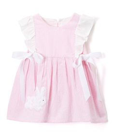 Love this Pink Bunny Personalized Angel-Sleeve Dress - Infant & Toddler on #zulily! #zulilyfinds