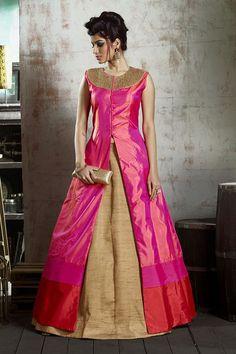 Make a grand entrance as you flaunt this enchanting #lehenga choli from #aishwaryadesignstudio. Buy Lehenga Choli online - http://aishwaryadesignstudio.com/divine-pink-gold-flared-lehenga-choli