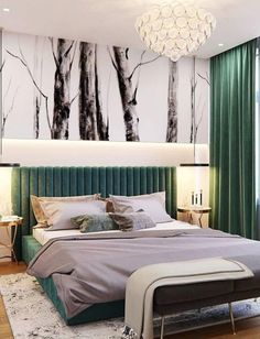 17 Affordable Bed Headboards Ideas That Will Rock Your Bedroom Green Headboard, Green Bedding, Bedroom Green, Bedroom Colors, Cushion Headboard, Bedroom Bed Design, Home Bedroom, Modern Bedroom, Bedroom Decor