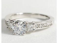 Trio Princess Cut Pav Diamond Engagement Ring in 14k White Gold #BlueNile