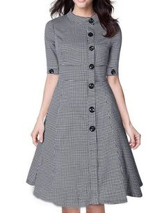 Shop Black White Stand Collar Buttons Plaid Dress online. SheIn offers Black White Stand Collar Buttons Plaid Dress & more to fit your fashionable needs.