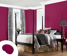A warm color on the walls makes a large, more formal bedroom feel instantly cozier. | Forward Fuchsia SW 6842, @SherwinWilliams
