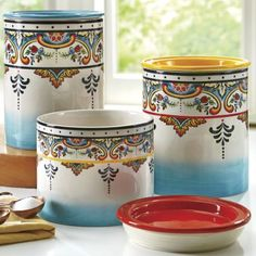 Set of 3 Zanzibar Canisters Coordinate your kitchen with canisters to match our Zanzibar Dinnerware. Gaskets (on lids) help seal in freshness.  www.CountryDoor.com
