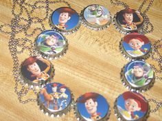 """toy story inspired bottlecap bottle cap ball chain 18"""" or 24"""" necklaces party favors lot of 10. $16.50, via Etsy."""