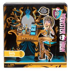 Monster High Cleo de Nile's Vanity Accessory New in the box Barbie Doll Set, Mattel Dolls, Doll Toys, Girl Toys Age 5, Toys For Girls, Ever After High Toys, Dressing Table With Chair, Monster High Birthday, Son Luna