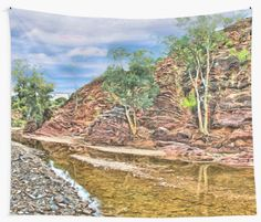 Rocks at Brachina Gorge, Flinders Ranges, Sth Australia Wall Tapestry by Terrella.  A painting of a section of Brachina Gorge, South Australia, rock formations from the Cambrian era. The landscape is approximately 540 million years old.  Approx 480km (298 miles) north of Adelaide, SA. • Also buy this artwork on home decor, apparel, phone cases, and more.