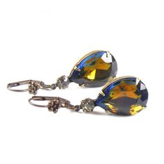 Blue & Topaz Vintage Crystal Pear Drop Earrings by #Blucha  ~ apply coupon code PINTEREST10 on etsy for 10% off ! ~